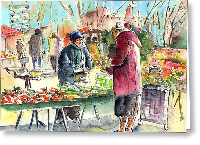 Vegetables Seller In A Provence Market Greeting Card by Miki De Goodaboom