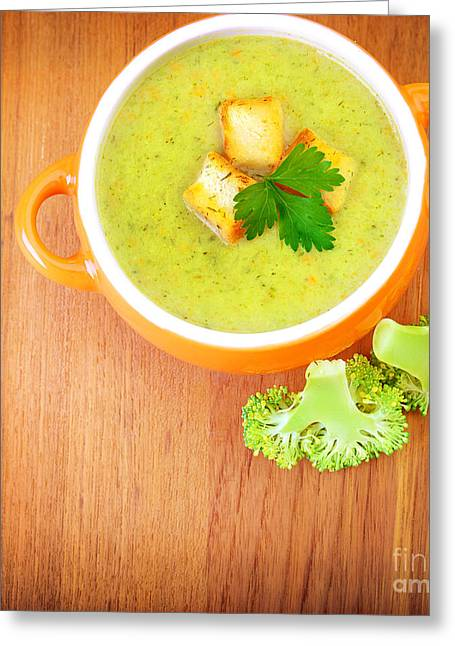 Vegetarian Cream Soup Greeting Card by Anna Om