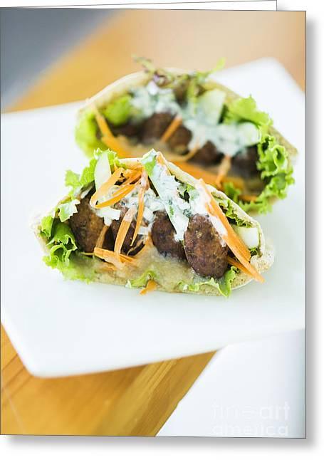 Vegetarian Falafel In Pita Bread Sandwich Greeting Card