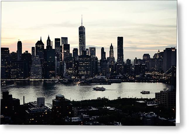 Vehement Silhouettes Of Manhattan - That Vertical City With Unimaginable Diamonds Greeting Card by Natasha Marco