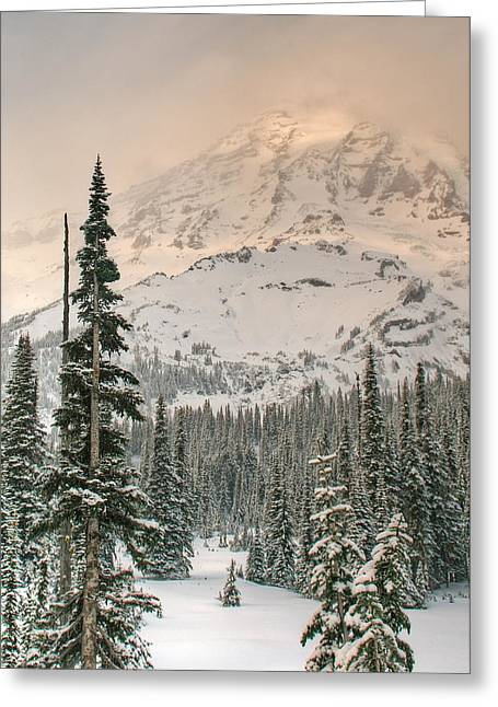 Veiled Mountain Greeting Card by Jeff Cook