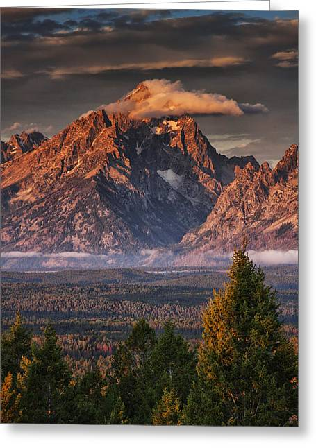 Veiled Tetons Greeting Card by Mark Kiver