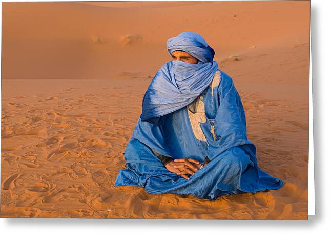 Veiled Tuareg Man Sitting Cross-legged Greeting Card