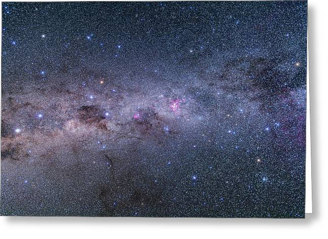 Vela To Centaurus With Crux & Carina Greeting Card by Alan Dyer