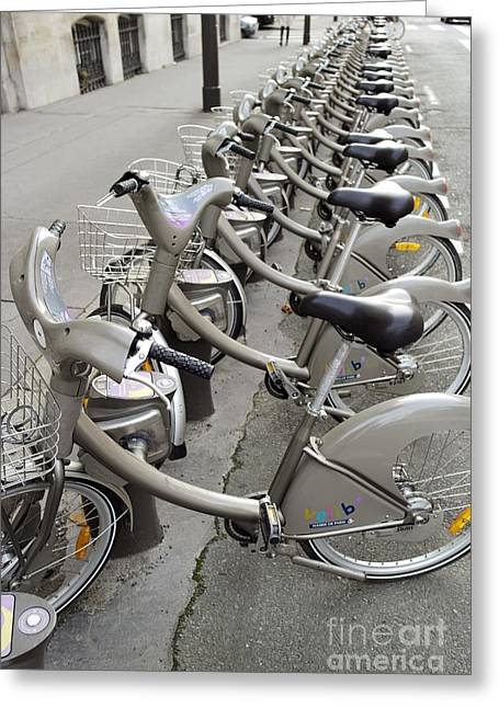 Velib Rental Bicycles, Paris Greeting Card by Tony Craddock