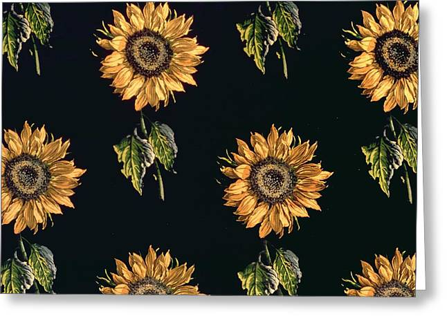 Velours Au Sabre Silk Decoration Of Sunflowers By Maison Ogier And Duplan, Lyon 1894 Textile Greeting Card