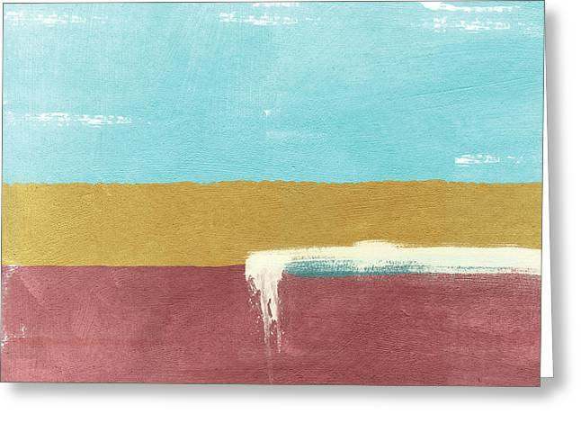 Velvet Horizon- Abstract Landscape Greeting Card by Linda Woods