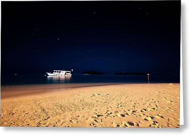 Velvet Night On The Island Greeting Card by Jenny Rainbow