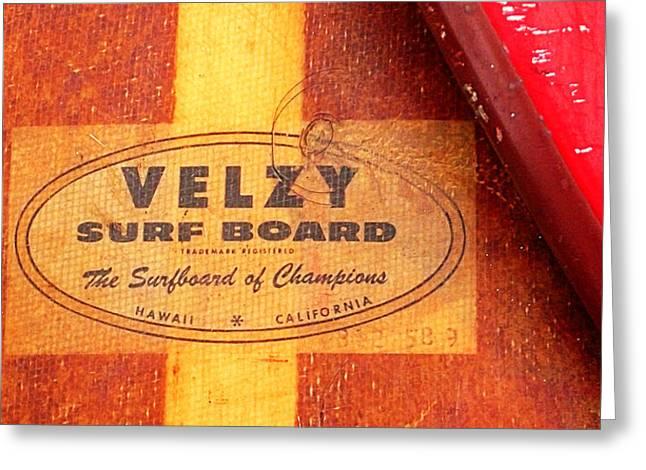 Velzy Surf Board Greeting Card by Ron Regalado