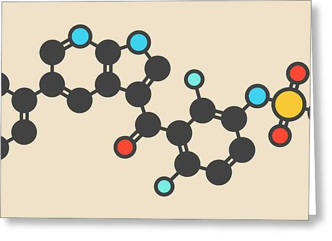 Vemurafenib Melanoma Drug Molecule Greeting Card by Molekuul