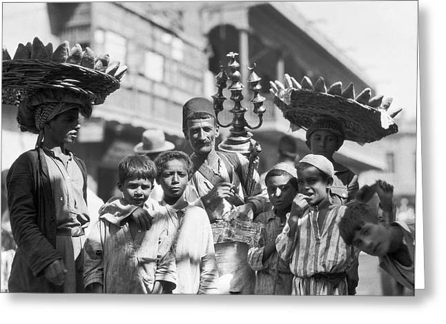 Vendors In The Baghdad Bazaar Greeting Card by Underwood Archives