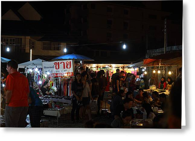 Vendors - Night Street Market - Chiang Mai Thailand - 011314 Greeting Card