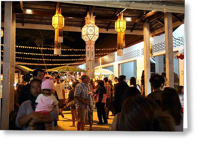 Vendors - Night Street Market - Chiang Mai Thailand - 011324 Greeting Card by DC Photographer