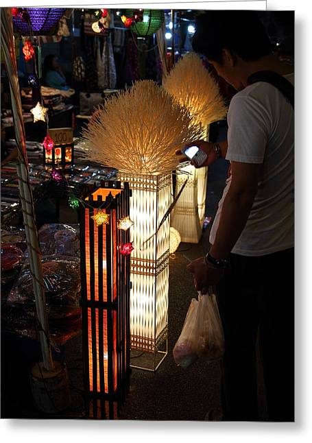 Vendors - Night Street Market - Chiang Mai Thailand - 011340 Greeting Card by DC Photographer