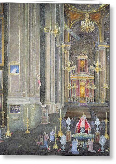 Veneration Of The Virgen Del Rosario, The Convent Of San Domingo, 2001 Oil On Canvas Greeting Card
