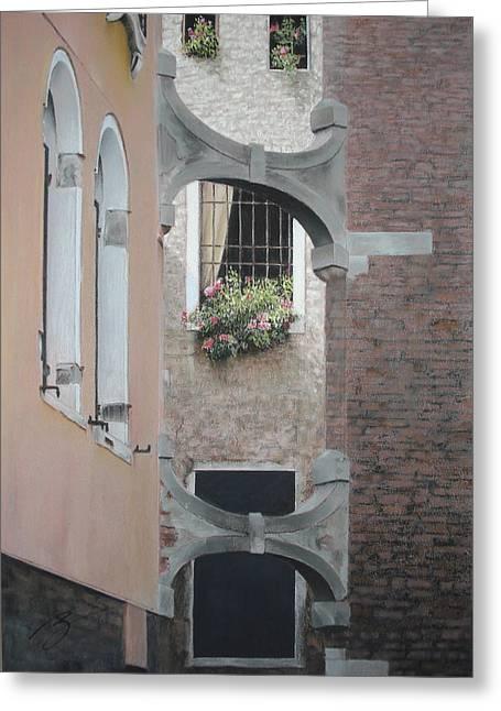 Venetian Buttresses - Pastel Greeting Card by Ben Kotyuk