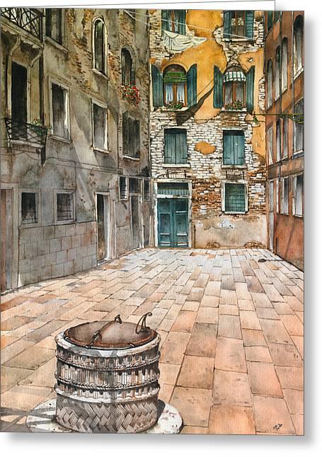 Venetian Courtyard 02 Elena Yakubovich Greeting Card by Elena Yakubovich