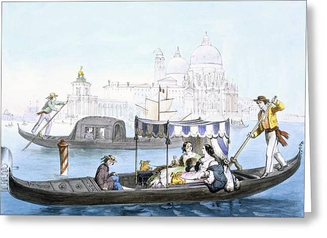 Venetian Gondola, From Vedute Dei Greeting Card by Giovanni Battista Cecchini