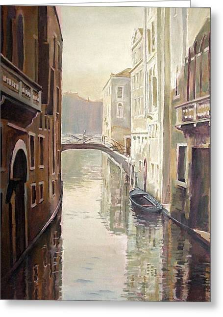 Venetian Life Oil On Canvas Greeting Card by Kevin Parrish