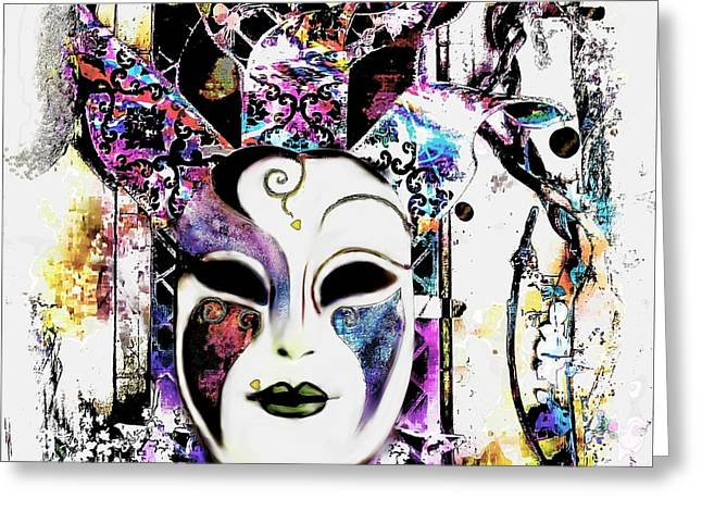 Venetian Mask Greeting Card by Barbara Chichester