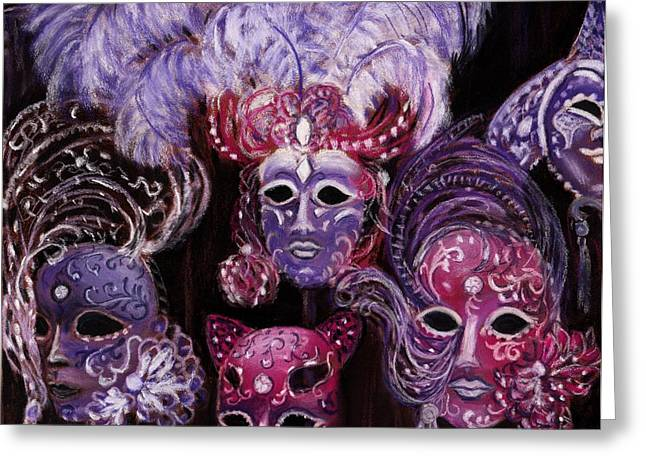 Venice Pastels Greeting Cards - Venetian Masks Greeting Card by Anastasiya Malakhova