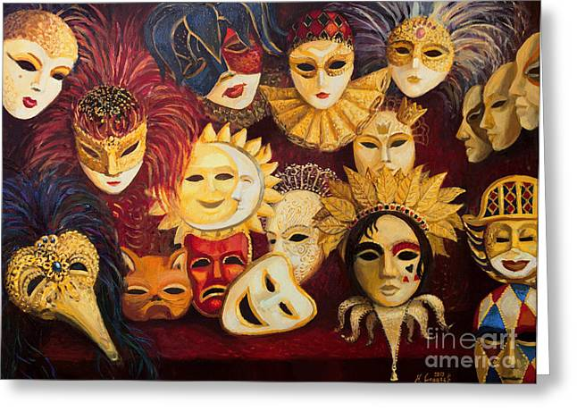 Venetian Masks Greeting Card by Kiril Stanchev