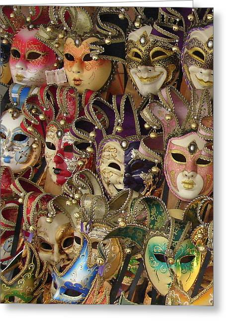 Greeting Card featuring the photograph Venetian Masks by Ramona Johnston