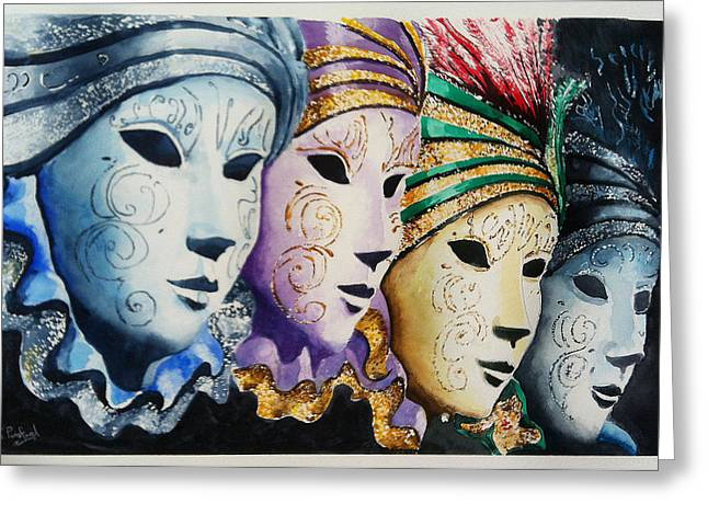 Venetian Masks Greeting Card by Steven Ponsford