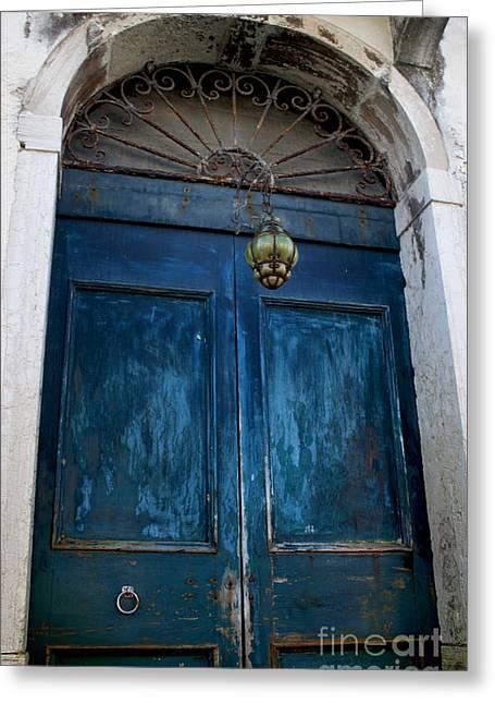 Venetian Old Blue Door Greeting Card
