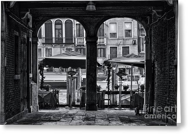Venetian Street Black And White Greeting Card by Design Remix
