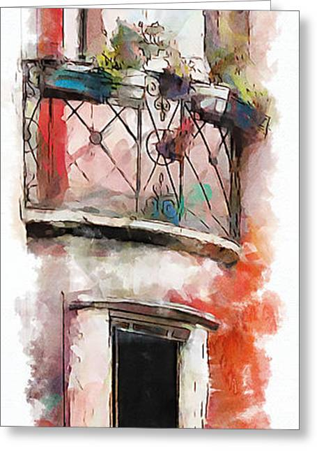 Greeting Card featuring the painting Venetian Windows 4 by Greg Collins