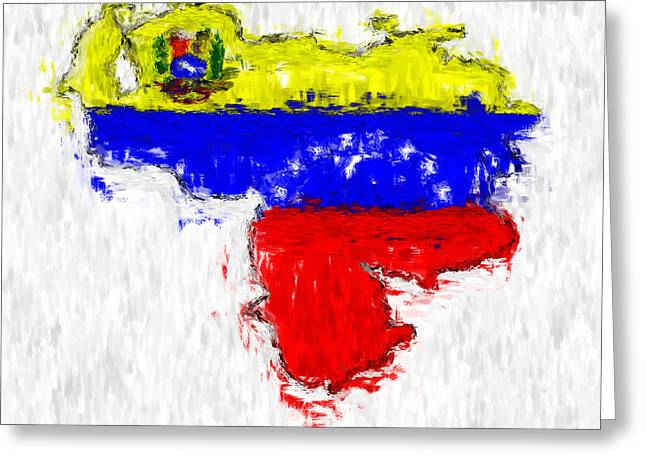 Venezuela Painted Flag Map Greeting Card by Antony McAulay