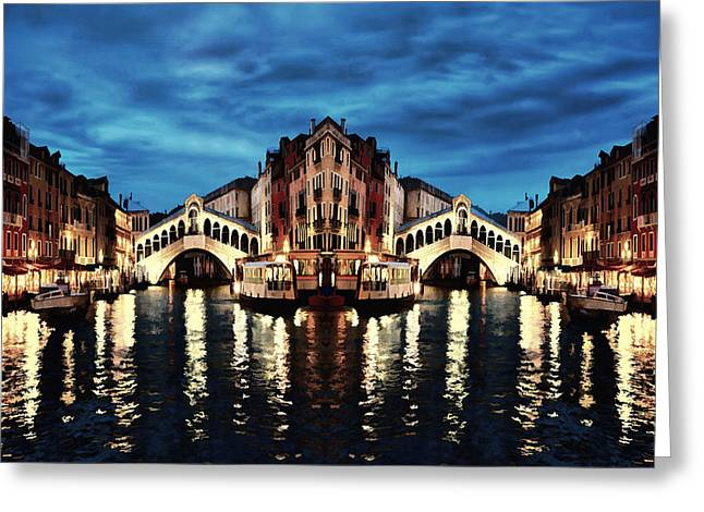 Venice Abstract Dream In The Night Greeting Card