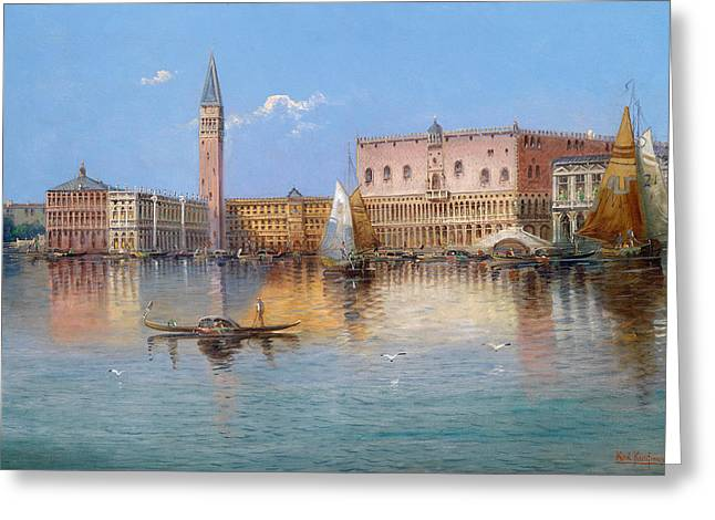 Venice. Acqua Alta In Piazza San Marco Greeting Card by Karl Kaufmann