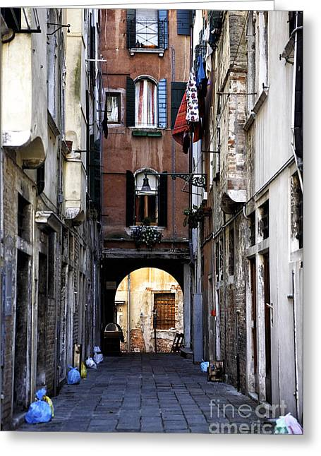 Venice Alley Greeting Card by John Rizzuto