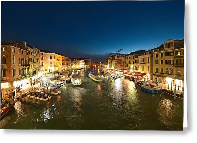 Venice At Night Greeting Card by Ioan Panaite