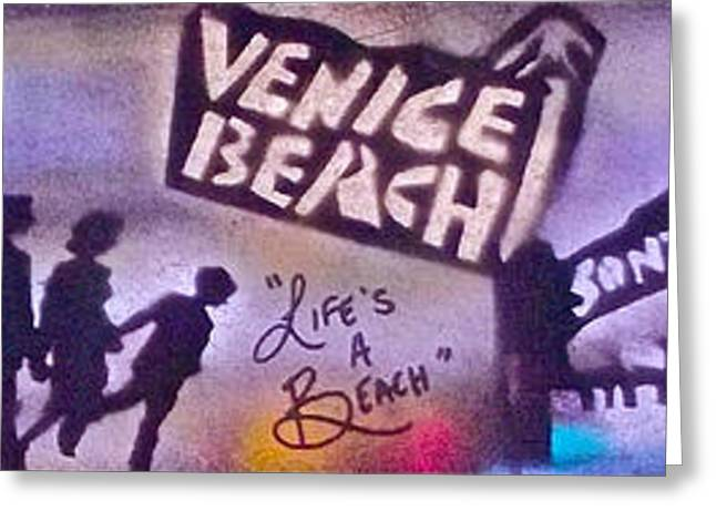 Venice Beach To Santa Monica Pier Greeting Card by Tony B Conscious