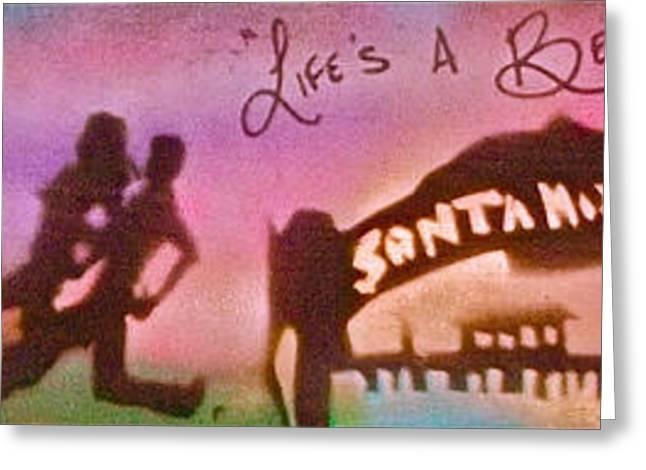 Venice Beach To Santa Monica Pink Greeting Card by Tony B Conscious