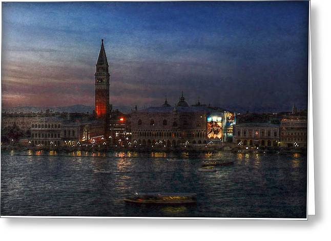 Greeting Card featuring the photograph Venice By Night by Hanny Heim