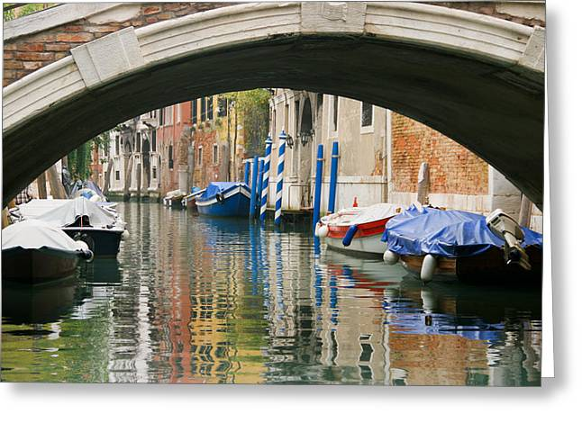 Venice Canal Boat Greeting Card by Silvia Bruno