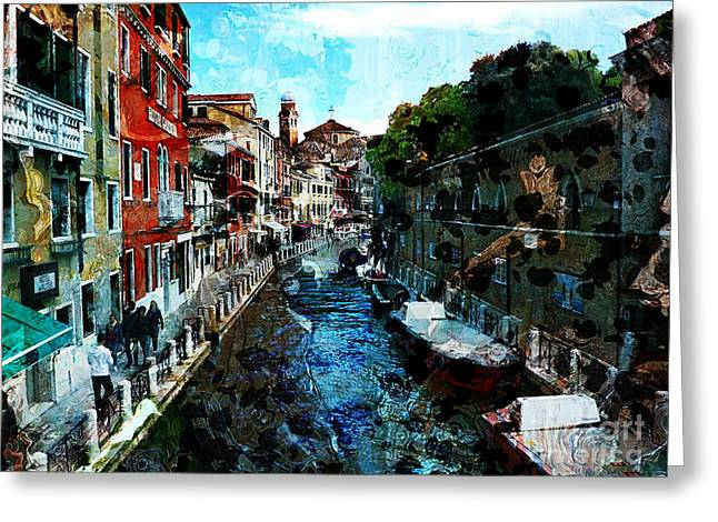 Venice Canal Greeting Card by Claire Bull