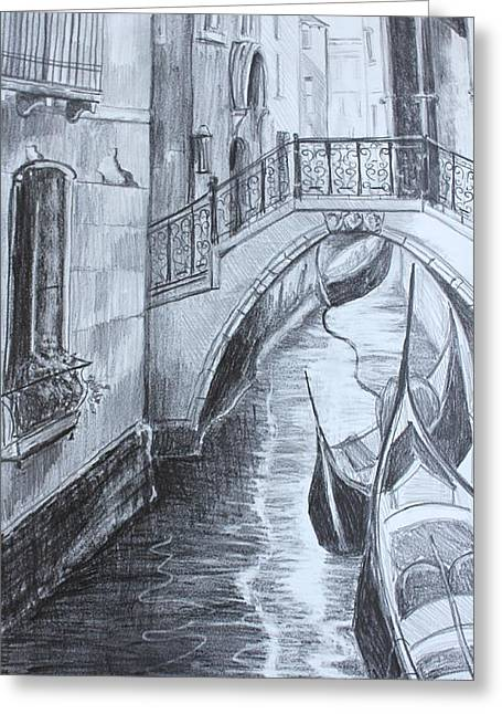 Venice Canal Greeting Card by Kathy  Karas