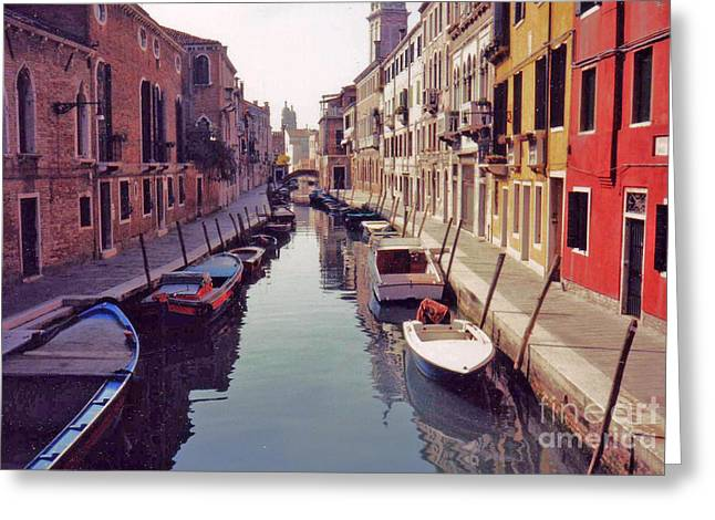 Venice Canal Greeting Card by Rita Brown