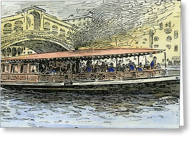 Venice Canal Steamboat Italy 1892 Greeting Card