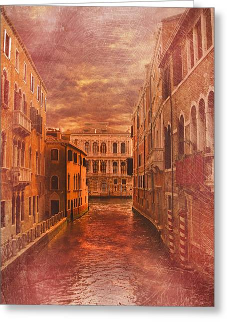 Venice Canal Greeting Card by Toma Bonciu