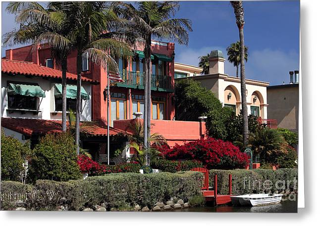 Venice Canals Living Greeting Card by John Rizzuto