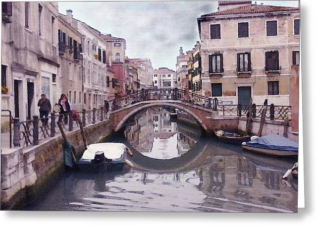 Venice Cannaregio Canal - Oil Greeting Card by Art America Gallery Peter Potter