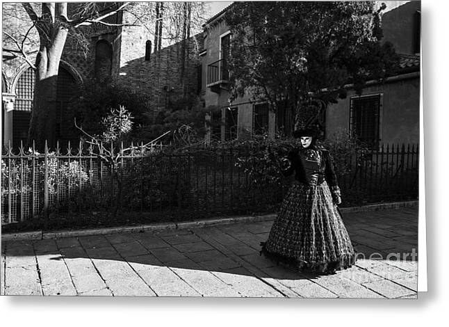Venice Carnival '15 Bw Greeting Card