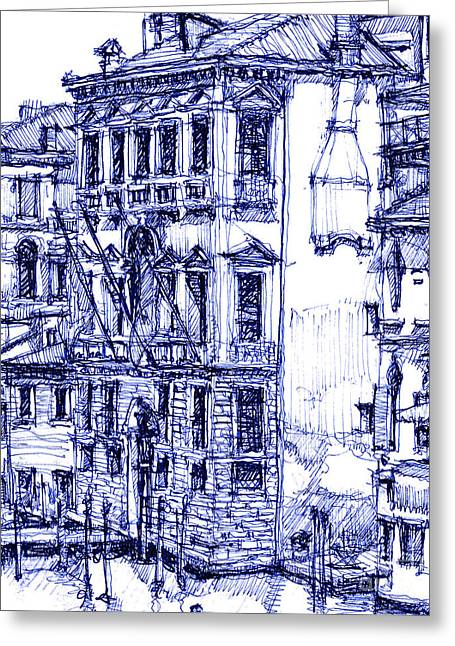 Venice Detail In Blue Greeting Card by Adendorff Design