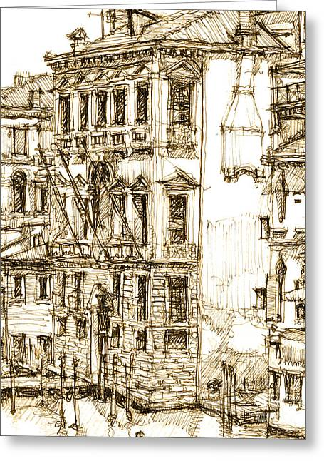 Venice Details In Sepia  Greeting Card by Adendorff Design